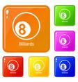 billiards icons set color vector image vector image