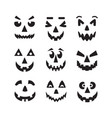black cool isolated halloweenpumpkin faces icons vector image vector image