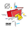 cart shopping on line pop art vector image vector image