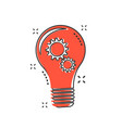cartoon light bulb with gear icon in comic style vector image vector image