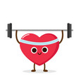 cartoon red heart lifting weight vector image