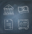 chalkboard banking and money icon set in line vector image vector image