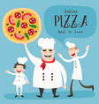 chef and pizza vector image vector image