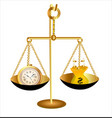 Clock time money dollar on scales vector image