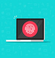 computer with fingerprint icon flat vector image vector image