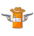 cowboy package juice character cartoon vector image vector image