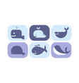 cute blue whale icons set sea creature animals vector image