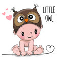 cute cartoon baby boy in a owl hat vector image vector image
