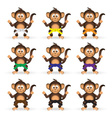 cute chimpanzee set with karate training color vector image vector image