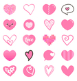 Cute set collection of pink hearts vector image vector image