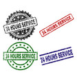 damaged textured 24 hours service stamp seals vector image vector image