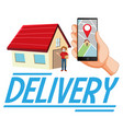 delivery logo with man and hand using vector image