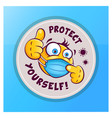 emoticon emoji with medical mask showing thumb up vector image