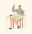 female student character sitting at desk with vector image vector image