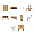 flat color furniture icon set vector image