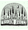 freedom awaits grungy handdrawn quote poster vector image