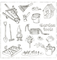 Garden tools doodle set Various equipment and vector image