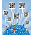 Global social media World with QR codes signs vector image vector image