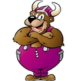 Hand-drawn of an Viking Bear in Purple Overalls vector image vector image