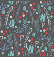 hand drawn seamless pattern with flowers vector image