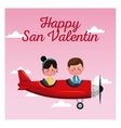 happy san valentine card couple flying red plane vector image vector image