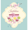 Invitation card to tea party with flowers and vector image
