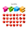 isometric 3d font three-dimensional alphabet vector image vector image