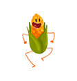 laughing corncob having fun cute vegetable vector image vector image