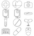 line art black and white medical 12 icon set vector image