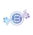 line bitcoin crytocurrency electronic money with vector image vector image