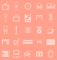 Living room line icons on orange background vector image vector image