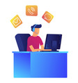 male operator with headset in customer support vector image