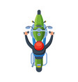 man in orange helmet riding motorcycle view from vector image vector image
