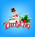 merry christmas card on light blue background vector image vector image