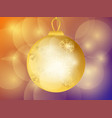 merry christmas golden christmas ball with vector image vector image