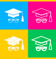 mortar board or graduation cap with glass four vector image vector image