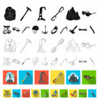 mountaineering and climbing flat icons in set vector image vector image