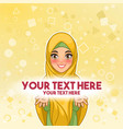muslim woman presenting text space vector image