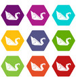 origami swan icons set 9 vector image