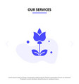our services bouquet flowers present solid glyph vector image vector image