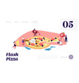 pizzeria bistro website landing page tiny people vector image vector image