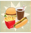 Retro background with fast food vector image vector image