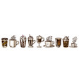 set cups coffee in vintage style take away vector image vector image