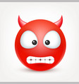smiley red devil emoticon yellow face with vector image