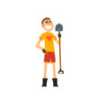 smiling male farmer with shovel cheerful gardener vector image vector image