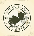 Stamp with map of Zambia vector image vector image