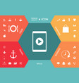 tablet with play button icon vector image vector image