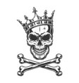 vintage monochrome skull in royal crown vector image vector image