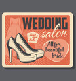 Wedding salon bride dress and high heel shoes
