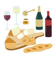 wine and cheese hand drawn set gourmet vector image